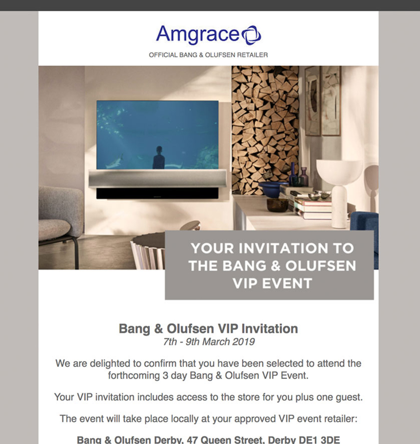 Bang and Olufsen email